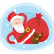 Stock Vector: Playful SantClaus with bag of rests