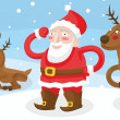 Stock Vector: SantClaus with reindeer fun