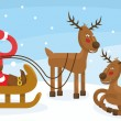 Stock Vector: SantClaus in sleigh with reindeer