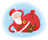 Playful Santa Claus with a bag of rests — Stock Vector