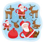 Santa Claus with reindeer fun set — Vecteur