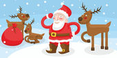 Santa Claus with reindeer fun — Stock Vector