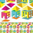 Stock Vector: Multicolored pattern houses