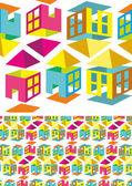多彩多姿的图案的房子 — 图库矢量图片
