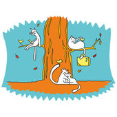 Three white cat with its fabulous birds in the autumn forest — Stock Vector