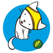 White kitten playing with a ball and cowards — Stock Vector