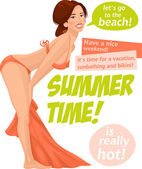 Girl in summer time — Vector de stock