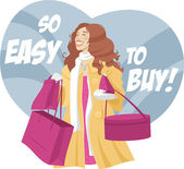 Girl with big shopping — Stock Vector