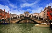 Bridge of Rialto in the Grand Canal of Venice — Stock Photo