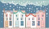 Winter town — Stock Vector