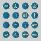 Industrial and logistic blue icons — Vector de stock