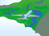 Plane in flight — Stock Vector