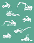 Silhouettes of road machinery — Stock Vector