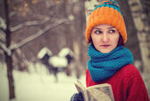 Teen girl with a book — Stock Photo