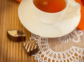 Cup of tea and sweets — Stock Photo