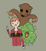 Ataques de ursos a criança — Vetor de Stock