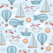 Seamless transportation pattern. — Stockvectorbeeld
