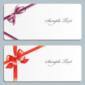 Set of two greeting cards with bow. — Vector de stock