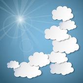 Weather background with paper clouds. — Vettoriale Stock