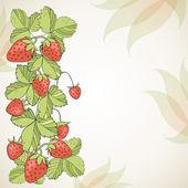 Seasonal background with strawberries. — Stock Vector