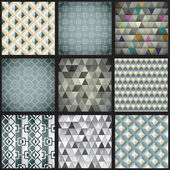 Set of nine geometric patterns — Vettoriale Stock