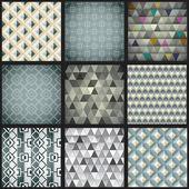 Set of nine geometric patterns — Stock Vector