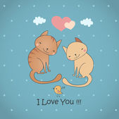 Funny cats falling in love — Stock Vector
