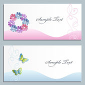 Set of two greeting cards with paper flowers — Stock Vector