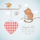 笑みを浮かべて猫と名刺のデザイン — ストックベクタ