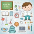 Stock Vector: Set of different school items with a boy.