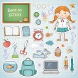 Stock Vector: Set of different school items with a girl.