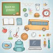 Set of different school items. — Stockvectorbeeld