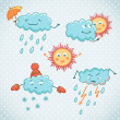 Cartoon weather icons. — Stock Vector