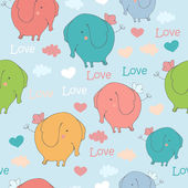 Seamless pattern with funny flying elephants. — Vector de stock