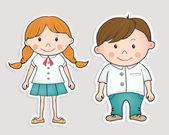 Bambini cartoni animati disegnati a mano. — Vettoriale Stock