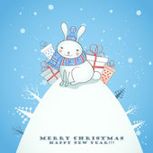 Christmas card design with rabbit. — Stock Vector