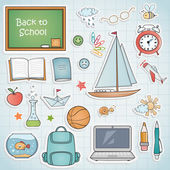 Set of different school items. — Stock Vector
