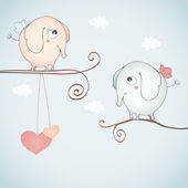 Funny elephants falling in love. — Stock Vector