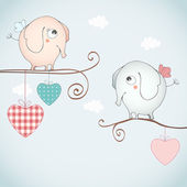 Funny elephants falling in love. — Stockvector