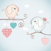 Aşık komik filler. — Stok Vektör