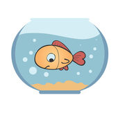 Goldfish in a fishbowl. — Stock Vector