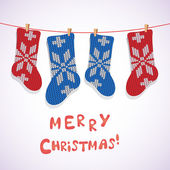 Card design with Christmas socks. — Vector de stock