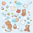 Funny holiday background. Cartoon collection. — Stok Vektör