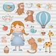 Birthday set with little girl. — Stock Vector