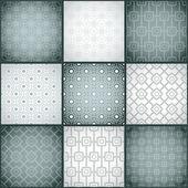 набор из девяти монохромных (черно-белый) бесшовные модели. — Cтоковый вектор