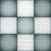 Set of nine monochrome (black and white) seamless patterns. — Stock Vector