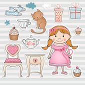 Birthday set with little girl. — Stock Vector