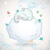 Cute elephant, sleeping on the cloud. — Stock Vector