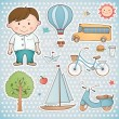 Holiday set for little boy. — Stock Vector