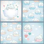 Elefanten, schlafen auf der wolke, weihnachtskarten — Stockvektor